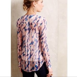 Anthropologie watercolor silk ruffle blouse